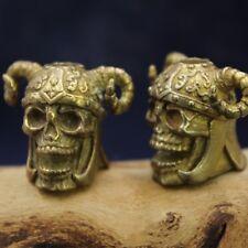 1 x Brass Sheep Skull Pendant Brass Skull Helmet Umbrella Rope EDC Pendant Beads