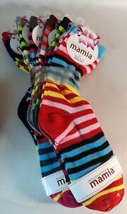 Bright 6 Pairs Striped Pattern Womens Socks Multi-colored Crew Fashion 9-11 New