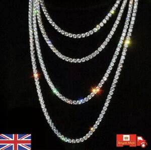 Mens Womens Iced Out Silver Gold Diamond Chain Tennis Necklace Choker Jewellery