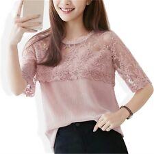 Summer Chiffon Blouse Women Lace Shirt Sexy Half Sleeve Womens Tops Size M