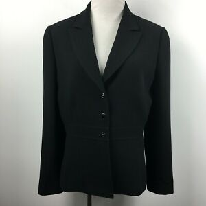 Tahari Size 10 Blazer Jacket Snap Up Black Lined Notch Collar