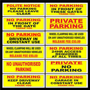 No Parking / Gates / Garage / Wheel Clamp / Keep Driveway Clear Sign Or Sticker