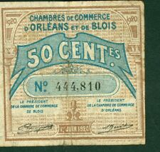 Billets de Nécessité 50 CENTIMES CHAMBRE COM. D'ORLEANS et BLOIS ETAT:TB lot 253
