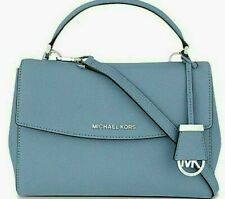 🌞MICHAEL KORS AVA SKY BLUE SILVER SAFFIANO LEATHER SATCHEL CROSSBODY BAG🌺NWT*!