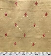 Drapery Upholstery Fabric Diamond Pattern w/ Embroidered Fleur De Lys - Sand