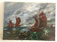tableau ancien huile sur toile inconnu (XXe-s) marine