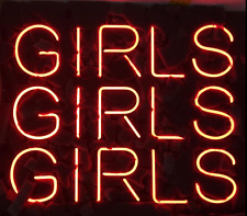 """New Girls Girls Girls Pink Color Acrylic Back Neon Light Sign 9"""""""