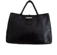 LONGCHAMP PARIS Black Croc Roseau Leather Toggle Lock Purse Tote Handbag. Medium