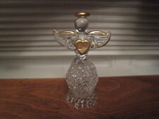 GLASS ANGEL W/ SPUN GLASS SKIRT, GOLD ON HEART WINGS & HALO
