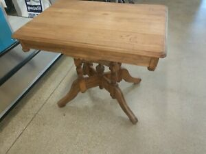 Antique PARLOR TABLE Claw Colonial English Victorian Oak Tiger Carved capitol 20
