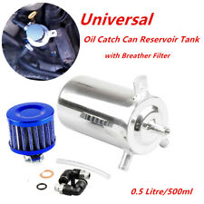 Car SUV Aluminum Oil Catch Can Reservoir Tank with Breather Filter 0.5L Durable