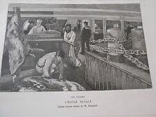 Gravure 1885 - L'école Navale Les cuisines