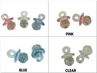"25 FACETED Mini Acrylic 1"" PACIFIER Baby Shower Favor Choose Color"