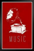 ProFrames Victrola Record Player Music Red Framed Poster 12x18