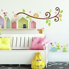 SCROLL TREE BRANCH Wall Stickers 65 BIG Decals Owls Flowers Leaves Nursery Decor