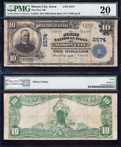 *SCARCE* 1902 $10 MASON CITY, IA Iowa National Banknote! PMG 20! FREE SHIP!