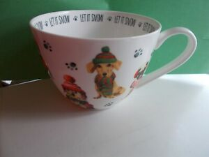 Portobello by Design Let It Snow Christmas Puppies Dogs Mug Oversized Cup CUTE!!