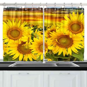 "Bright Yellow Sunflowers Kitchen Curtains Window Drapes 2 Panels Set 55*39"""