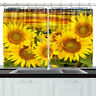 Bright Yellow Sunflowers Kitchen Curtains Window Drapes 2 Panels Set 55*39""