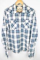 Hollister Men Casual Shirt SnapWhite Blue Check Cotton size XL