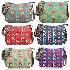 Matte Oil Cloth Polka Dot Kitty Cat Dog Flower Floral Cross Body Messenger Bag