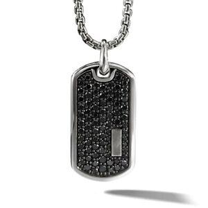 Dog Tag Black Rhinestone Pendant Necklace 18K White Gold Filled FREE SHIPPING !!