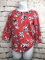 Lands End Coral White Navy Floral Print Pullover 3/4 Sleeve Cotton Sweater XS P