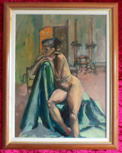 NUDE STUDY OIL PAINTING BY PETER COLLINS.