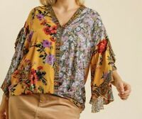 New Umgee Top 2X Goldenrod Mixed Floral Scallop Sleeve Boho Peasant Plus Size
