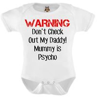 Personalised Baby Vest Bodysuit Funny Warning Mummy Is Psycho Funny Baby Gifts