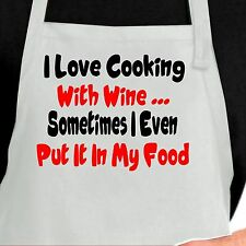 I Love Cooking With Wine Funny Kitchen Apron, Humorous Aprons Funny Aprons