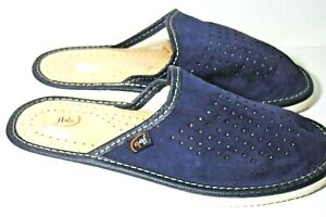 WOMEN NATURAL LEATHER SUEDE DARK BLUE HOUSE SLIPPERS MULES SLIP ON RUBBER SOLE