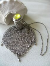 Antique Art Nouveau STERLING Silver Yellow Gate Top Mesh Chatelaine Coin Purse