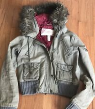 Abercrombie & Fitch Olive Green Bomber Jacket Coat Faux Fur Womens Medium