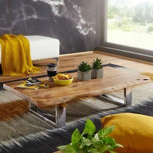 WOHNLING Couchtisch ASURA Akazie Wohnzimmertisch Holz Massiv Sofatisch Baumkante