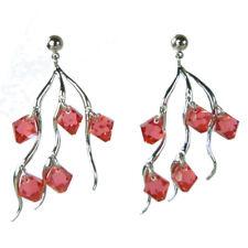 Boucles d'oreilles plaqué or blanc cristal Swarovski toupies rouge