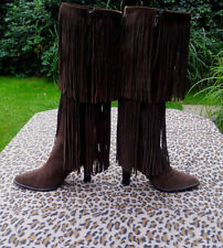 Bijou Brown Suede leather knee boots with tassels UK size 5 EU 38 US 7M