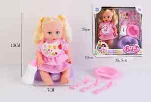 Baby Doll With Feeding Chair Bottle Baby Dish and Cuttlery Pretend Play UK Stock