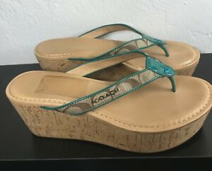 COACH-Womens-Size-7-Flip-Flops-Thong-Tan and Blue-Wedge