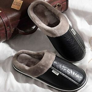 Mens Slippers Winter Non Slip Indoor Shoes For Men Leather House Shoe Waterproof