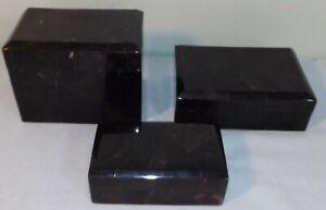 Vtg Maitland-Smith 3 Box Set Marble Stone Exterior Wood Interior