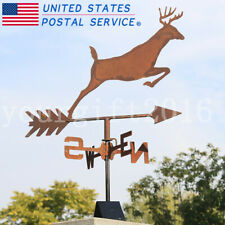 Handmade Whitetail Deer Weather Vane Naturally Rusty Metal Finished Ornaments Us