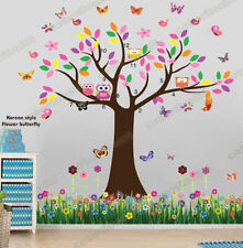 Huge Owl Flower Tree Butterfly&Grass Wall Stickers Art Decal Kids Nursery Decor