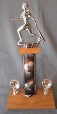 silver Female baseball trophy theme ball column wide oak base mitt trims