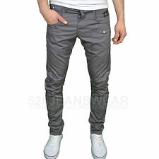 Crosshatch Mens DESIGNER Twisted Leg Regular Fit Tapered Chinos Jeans Charcoal 36w 30l