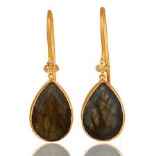 18K Gold Plated Brass Labradorite Gemstone Drop Earrings Handmade Jewelry