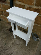 H80cm W50cm D25cm BESPOKE CONSOLE HALL STAND TABLE DRAWER WHITE SATIN