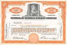 Central Of Georgia Railway Compagny 100 Shares 1957