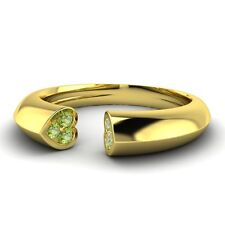 0.11 Cts Natural Peridot Heart Wedding Band Ring 10k Yellow Gold Womens Jewelry