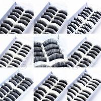 10 Pairs Handmade Natural Long Cross Thick False Eyelashes Fake Eye Lashes New a